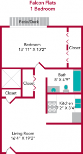 Falcon Flats Typical 1 Bedroom Floorplan
