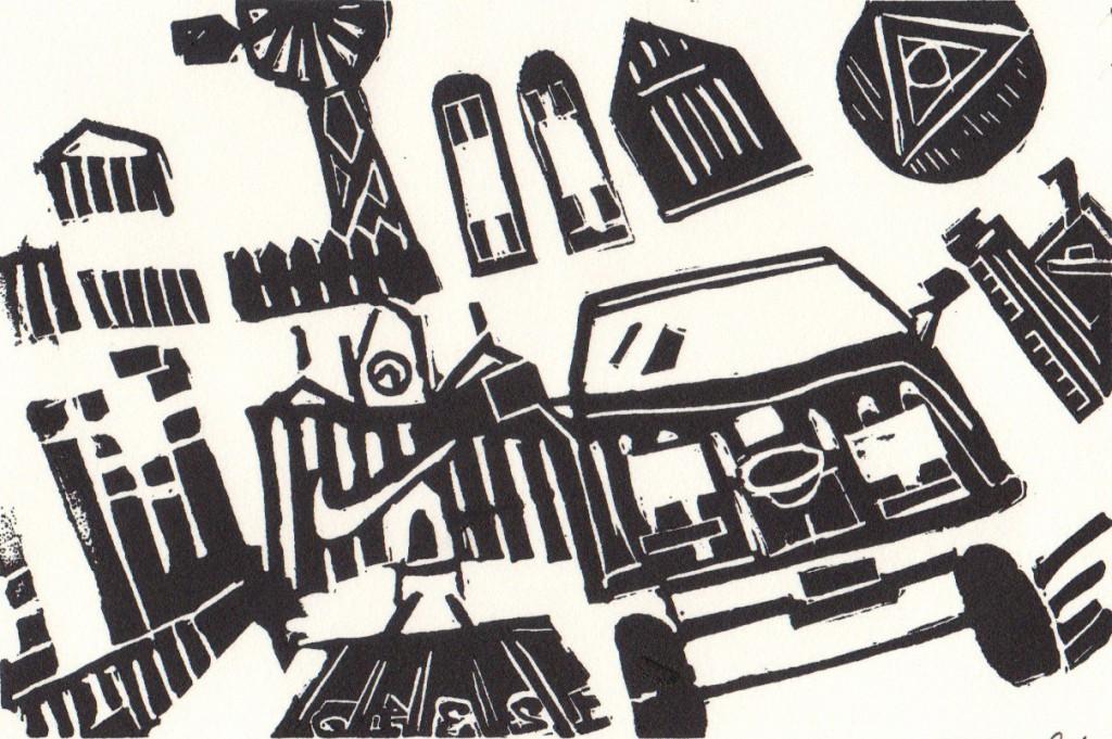 Linoleum block print by Chelsea Ast
